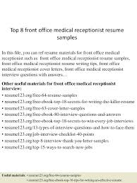 Medical Receptionist Resume Cover Letter resume Sample Of Receptionist Resume 39