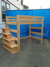 bunk bed with stairs plans. Super Heavy Duty Loft Bed With Stair Case Shelf Full Size By FastElegance On Etsy Https Bunk Stairs Plans