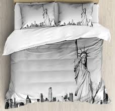black and white duvet cover set statue of liberty of new york city famous american monument decorative bedding set with pillow shams pale grey black