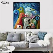 colorful abstract birds modernism oil painting printed on canvas mural art home decor for hotel cafe bar office wall art for hotel cafe bar abstract  on colorful abstract canvas wall art with colorful abstract birds modernism oil painting printed on canvas
