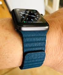 love my new apple watch band cosmos blue leather loop should be 150 from apple but picked it up unused still sealed in its box for 80 on