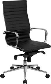 eames inspired office chair. High Back Black Ribbed Upholstered Leather Executive Swivel Office Chair [BT-9826H-BK-GG] Eames Inspired