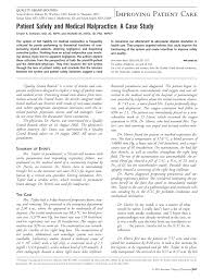 patient safety and medical malpractice a case study of  patient safety and medical malpractice a case study of internal medicine american college of physicians