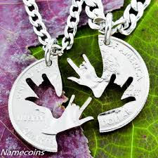 custom made best friend necklaces sign age jewelry deaf and asl i love you