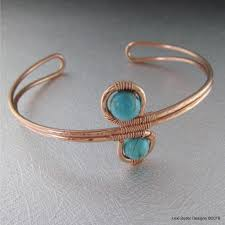 Designer Wire Jewelry Wire Wrapped Adjustable Turquoise Beads Copper Wire Bracelet
