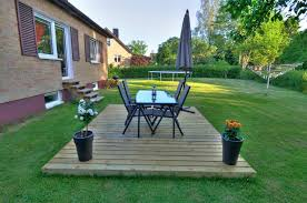 Here's another great example of a fun, minimalist floating deck that  provides a simple but