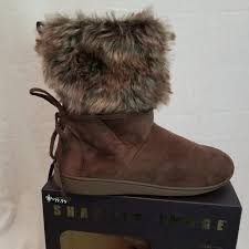 Nwt Fur Slipper Boots By Sharper Image Lg Nwt