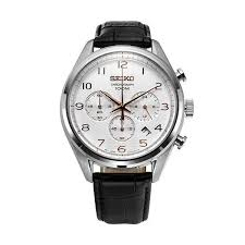 seiko quartz chronograph black leather ssb227 ssb227p1 men s watch