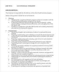 11 Occupational Therapist Job Description Samples Sample Templates