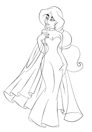jasmine printable coloring pages in wedding dress page aladdin of within princess