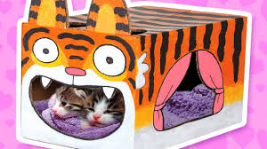 cardboard tiger cat house crafts ideas with boxes diy on boxyourself