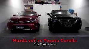 Mazda cx3 size comparison with Toyota Corolla - YouTube