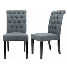 xtremepowerus padded fabric dining chair set of 2 gray