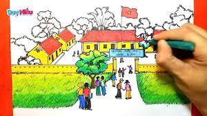 Vẽ tranh đề tài ngôi trường của em - Vẽ tranh ngôi trường của em - Vẽ ngôi  trường đẹp nhất - YouTube