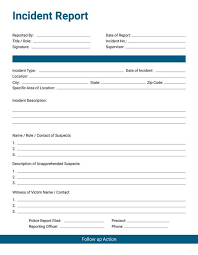 Incident Report Form Template Bofbbootcamp