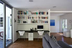small home office desk built. Home Office Desk For Two A Black Built In Below The White Shelves Makes This Small Space Functional Chair L