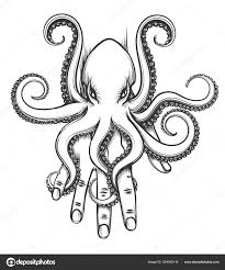 Baby Chobotnice Sedí Lidskou Ruku Vektorové Ilustrace Tetování Stylu