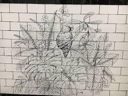 drawing on handmade tiles