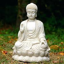 small large garden buddha statues sitting meditating white stone finish zen statue