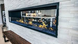linear see thru fireplace ventless linear fireplace insert