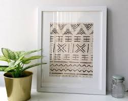 framed african mudcloth fabric handwoven cream and black african fairtrade textile wall hanging wall art bohemian decor tribal art on african cloth wall art with african art fabric etsy