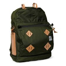 day pack moss w natural leather patch