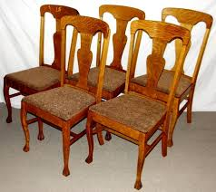 antique quarter sawn oak dining table and chairs. \u003ch4\u003eset of 5 1900\u0027s fancy 1/4 sawn oak queen anne style antique quarter dining table and chairs e