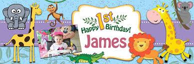 1st birthday banner happy 1st birthday animal cartoons banner theme