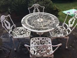white iron outdoor furniture. White Metal Garden Table And Chairs Iron Outdoor Furniture T