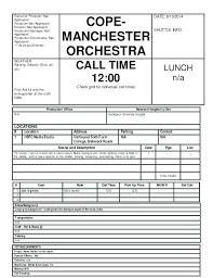 Film Call Sheet Template Word Reflexapp