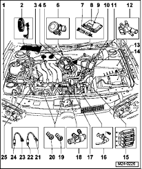 2004 vw jetta 2 0 today and the car shut it started right back up here is a picture of where the injectors are located the picture is not too great but i hope it helps look at 18 in the picture the harness runs down under