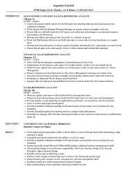 Sales Analyst Resume Sales Reporting Analyst Resume Samples Velvet Jobs