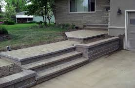 building paver patio steps step down paver patio design