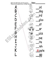 Students work on starting and finishing words. A L Phonics Matching Esl Worksheet By Laurend