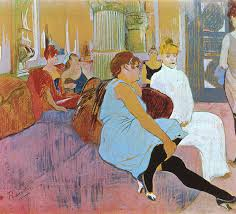 the salon in the rue des moulins 1894 by toulouse lautrec as