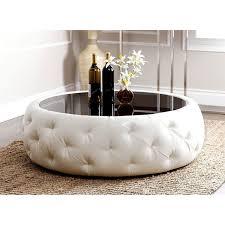 abbyson living havana round leather coffee table