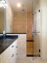 inline shower enclosure with half wall panel and towel bar handle combo frameless glass steam shower