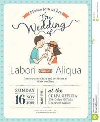 Invitation Card Sample Wedding Invitation Card Template With Cute Groom And Bride Stock