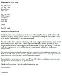 sample of undergraduate simple cover letter for job marketing job cover letter example