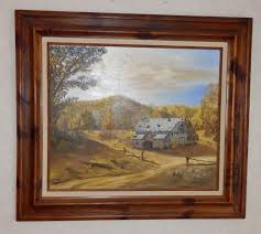vtg oil 20x24 painting on canvas by e howe wood frame barn splitrail fence fall