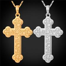 whole uni latin cross necklace for women men jewelry 18k gold plated flower carving budded cross pendant necklace jewellery key necklace from