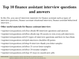 Top 10 Finance Assistant Interview Questions And Answers