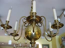 image of antique brass chandelier makeover