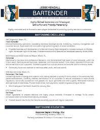 Bartender Resume Skills Create A Great Bartender Resume Bartending Resum