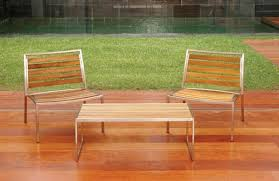 nice stainless steel and wood outdoor furniture