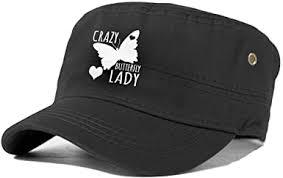 Crazy Butterfly <b>Lady</b> Cadet Army Cap Flat Top Sun Cap <b>Military</b> ...