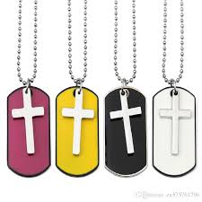 whole fashion jewelry men cross dog tag pendant necklaces for men military card 70cm beads chain hip hop men necklace necklace charms charms for