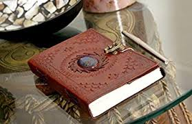 leather journal lock diary book with premium paper quality hand embossed foliage patterned flap cover