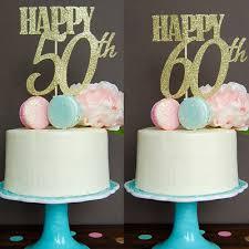 Happy 50th 60th Cake Topper Wedding Anniversary Birthday Gold
