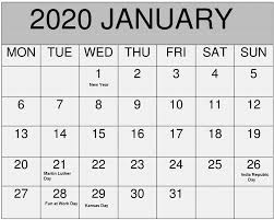 Chinese Calendar January 2020 January 2020 Calendar With Holidays Usa Canada Australia